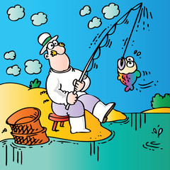 Funny cartoon fisherman