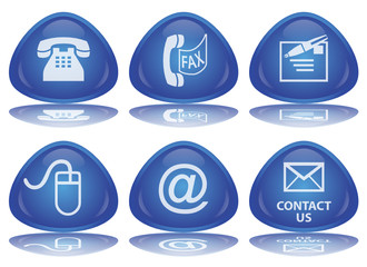 CONTACT Web Buttons (Details Customer Service Vector Reflection)