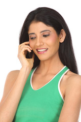 picture of happy indian woman with cell phone