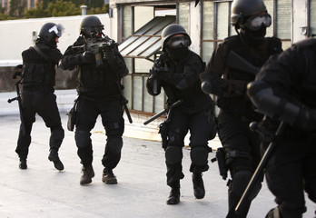 SWAT officers in full tactical gear