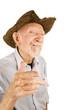 Красивый старший мужчина стиле соломы Ковбойская шляпа stock photography.