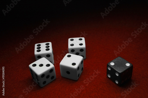 Dice over red
