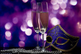 lasses with champagne and Venetian mask poster