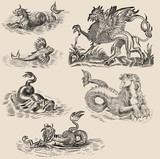 Old engraving with dragons poster
