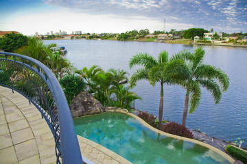 Balcony views from waterfront Mansion with Pool overlooking the
