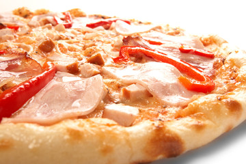 Pizza with pepper and ham