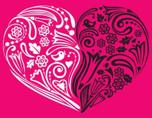 Floral heart shape, vector illustration