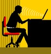 Illustration of silhouette of a man working with laptop