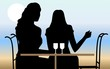 Illustration of silhouette of ladies sitting in a cafeteria