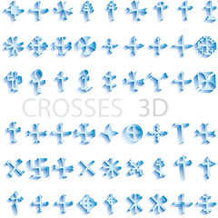 set of crosses 3D vector illustration