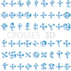 set of crosses 3D vector illustration