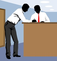 Illustration of silhouette of men in a counter