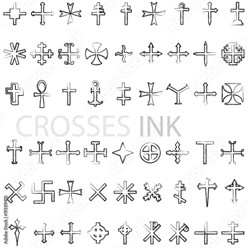 set of crosses ink vector illustration