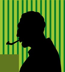 Illustration of a silhouette of man smoking
