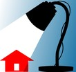 Illustration of house and table lamp