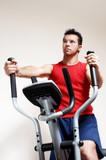 Boy on training apparatus in sportclub poster