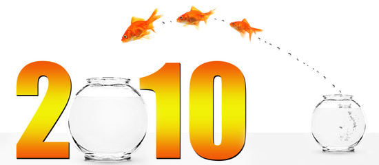 three goldfish jumping into the new year
