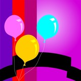 Illustration of  three colourful balloons