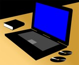 Silhouette of Laptop and discs