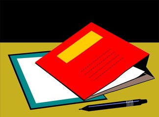 Illustration of red colour folder and pen