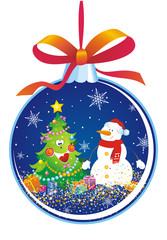 Christmas tree decoration with snowman and fir-tree