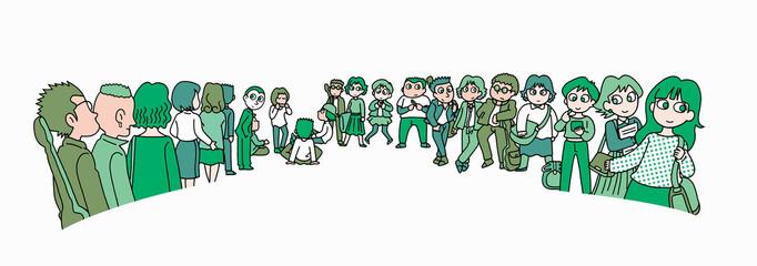 行列する群衆03-若者
