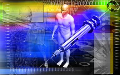 Human body and syringe