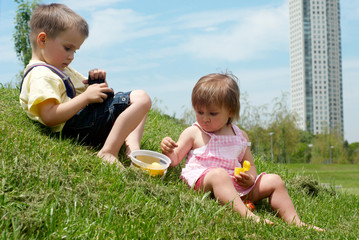 Children played a glade in park