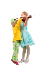 Two Little Girls And One Violin. Studio Shoot Over White Backgro