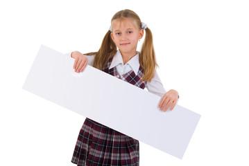 School Girl With Presentation Board Banner. Studio Shoot On Whit