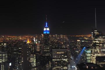 Night view of New York city.