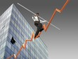 Businessman on a finance graphic aiming for the top..