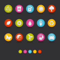 Matte Circle Icons - Ecology in Black
