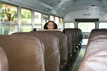 Schoolgirl on bus