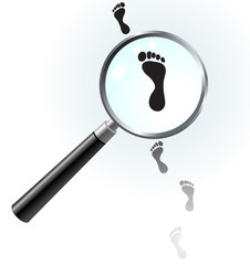 Human Footprints under magnifying glass