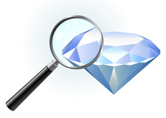 Diamond under magnifying glass