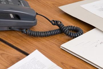 Grey phone at office.