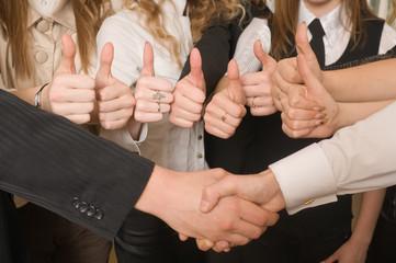 Success and hand shake.
