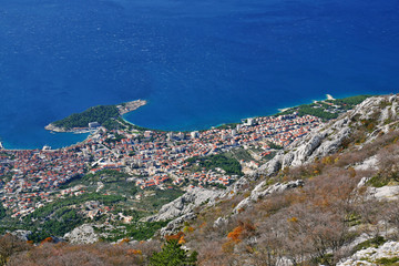 view to croatian coast city of makarska