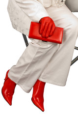 Red boots and gloves.