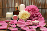 Burning the candle on the background of natural cosmetics
