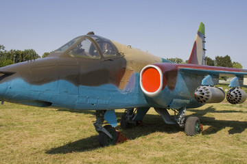 Old soviet low flying attack aircraft SU-25 Frogfoot