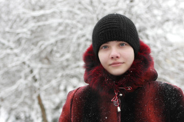Teen in winter park