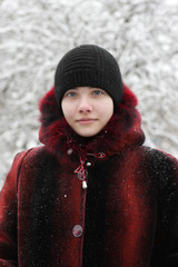 Teen poses in winter
