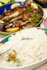 Grilled trout and rice