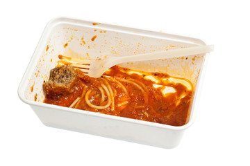 Leftover meatball spaghetti in a disposable container isolated