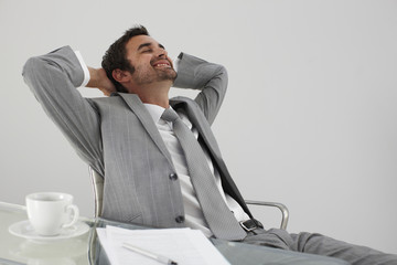 Young man having a break