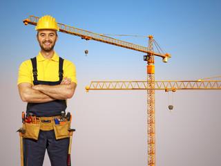 handyman and construction metal crane background