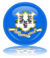 Connecticut State Round Flag Button (USA Vector America Web)