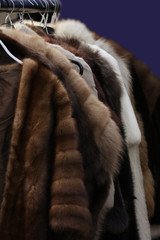 selection of fur coats on clothes rail